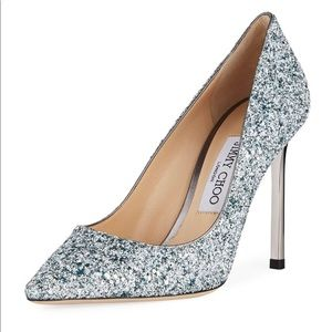 NEW! Jimmy Choo Romy Painted Coarse Glitter Pumps